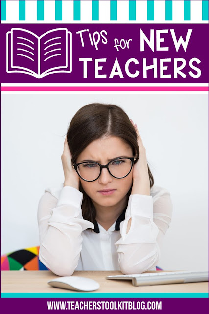 "Image of worried teacher with text ""Tips for New Teachers"""