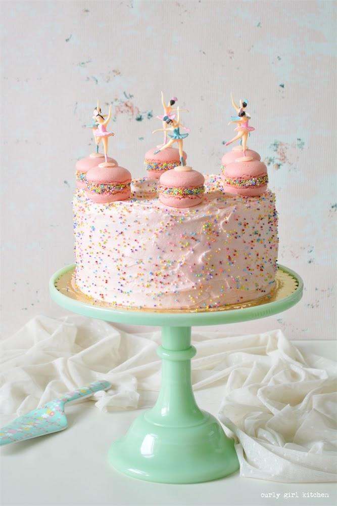 Pink Sprinkles Cake, Macaron Cake, Pink Macarons, Macarons with Sprinkles, Ballerina Cake, Cake Decorating, Pink Birthday Cake, Sprinkles Cake, Macarons
