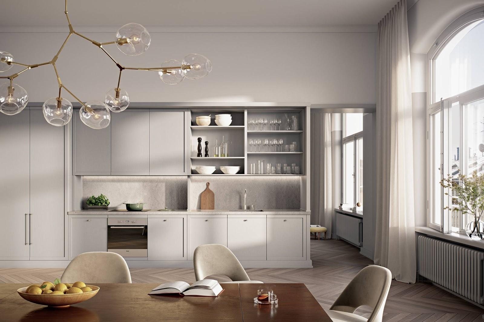 scandinavian interior kitchen, mid century modern chairs, dining table, herringbone floor