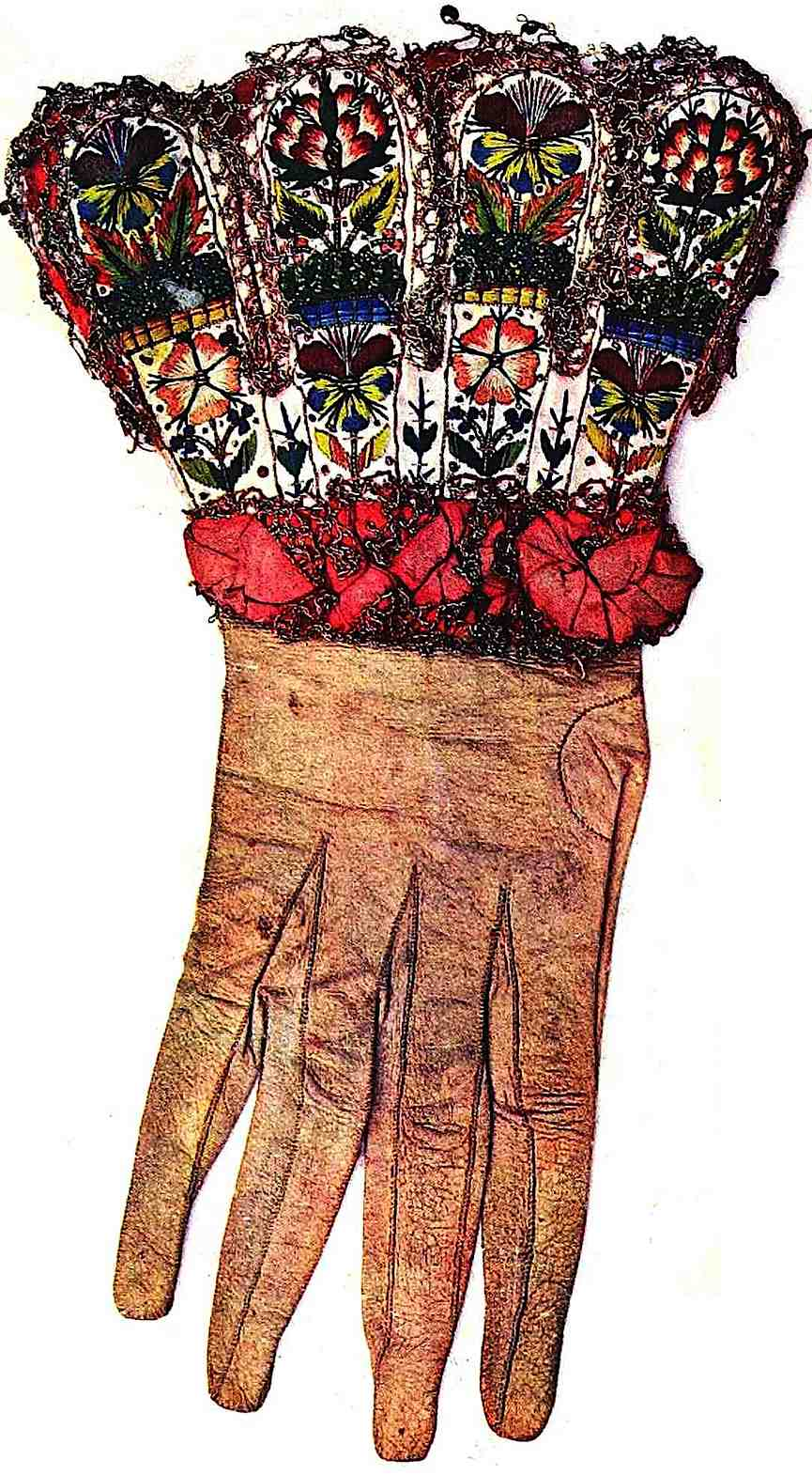 a color photograph of English King Henry VIII's glove, from an old book