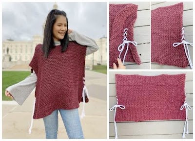 Poncho rectangular-recto crochet abierto laterales con lazadas