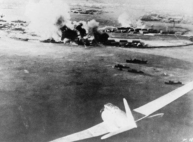 Japanese attacking battleship at Pearl Harbor worldwartwo.filminspector.com