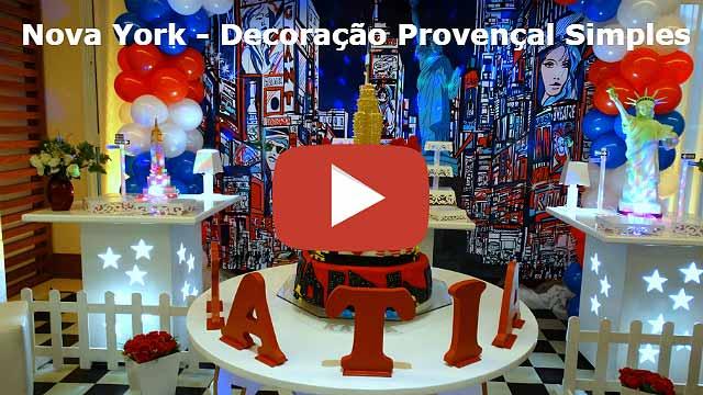 Decoração mesa de festa de aniversário tema Nova York para adolescentes e adultos