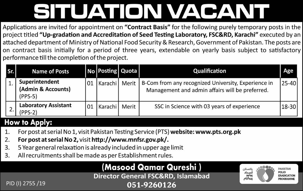 Ministry of National Food Security & Research MNFSR Management Posts Islamabad 2019
