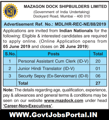 MAZAGON Dock Shipbuilders Recruitment 2019
