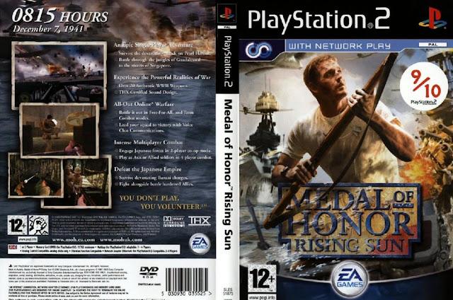 Descargar Medal of Honor - Rising Sun ps2 iso NTSC-PAL: Es un videojuego de disparos en primera persona basado en las batallas libradas durante la Segunda Guerra Mundial en el Océano Pacífico, desde el bombardeo de Pearl Harbor hasta las calles de Singapur.