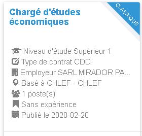Employeur  SARL MIRADOR PALACE HOTEL Chargé d'études économiques