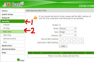 اعدادات الراوتر والتصفيه برقم الماك mac filter