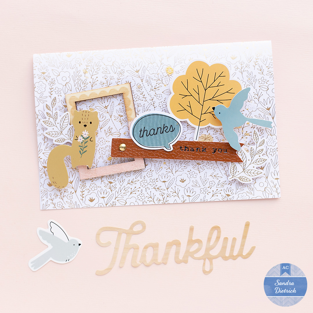 Cute Thank you card with a squirrel and frame