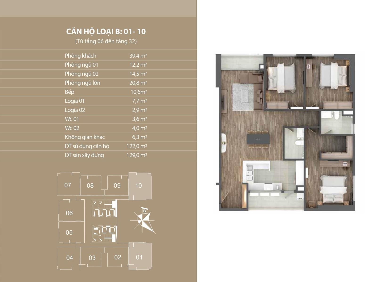 Vị trí căn 01 và 10 - Chung cư Phú Mỹ Complex - N01T4 Ngoại Giao Đoàn