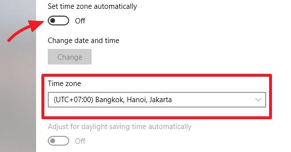 Ubah time zone di Windows 10