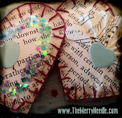 free printable tutorial for Valentines Valentine's Day sewn paper hearts to craft