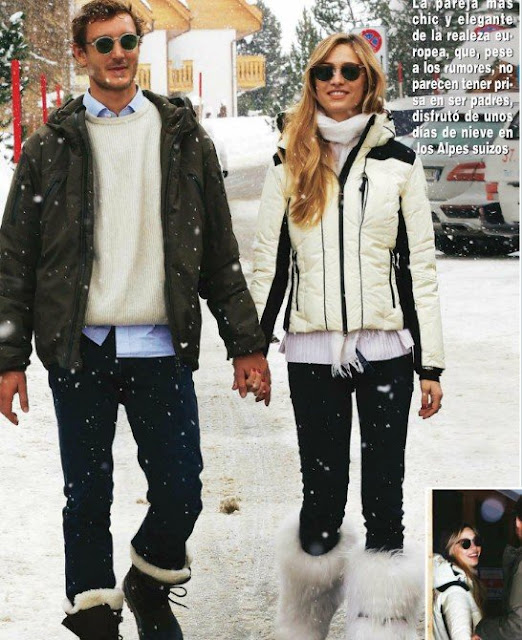 "Spanish magazine ""Hola!"" published photos of Pierre Casiraghi and his wife Beatrice Borromeo taken while they were on winter holiday in St. Moritz which is in Engadine valley of Switzerland."