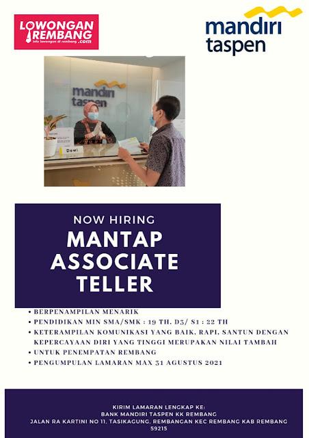 Lowongan Kerja Mantap Associate Teller Bank Mandiri Taspen Rembang