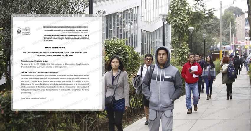 CONGRESO DE LA REPÚBLICA: Aprueban dictamen a favor de otorgar el bachillerato automático a universitarios