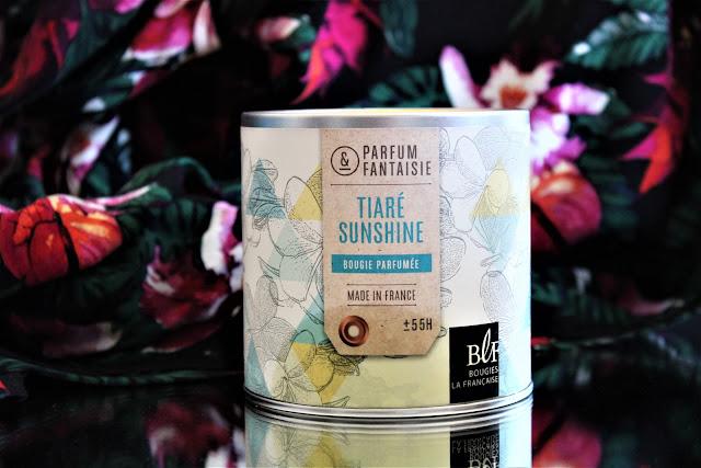 bougies la française tiaré sunshine avis, bougies la française, bougie parfumée, bougie parfumée au monoï, bougies, bougie parfumée été, parfum d'ambiance fleur de tiaré, parfum au monoï, bougies parfumées made in france