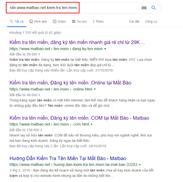 Lệnh SITE từ google search check Keyword Cannibalization