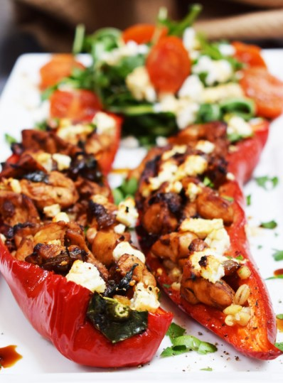 BALSAMIC CHICKEN AND FETA STUFFED PEPPERS