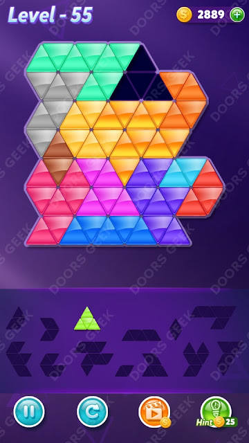 Block! Triangle Puzzle Champion Level 55 Solution, Cheats, Walkthrough for Android, iPhone, iPad and iPod