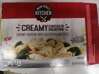 Box packaging for Main Street Kitchen Creamy Chicken Rigatoni, from Dollar Tree