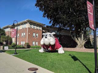 "Dean's mascot ""Boomer"" out on the lawn recently"