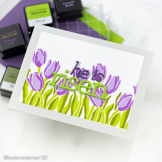 Altenew, Simon Says Stamp, Layered Tulips, layered stamping, greeting card, easter, he is risen, cz designs, Cathy Zielski, inlaid die-cutting