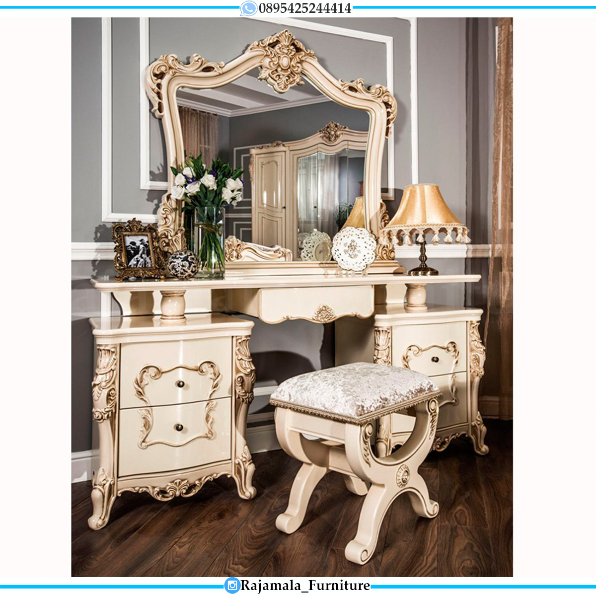 Meja Rias Mewah Terbaru New Luxury Classic Style White Duco Glossy RM-0552