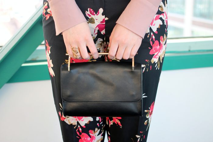 forever 21 gold handle purse, boston style blogger, spring floral pants, flower pants for spring, dressy floral pants, dressy spring pants, boston style blog, what i wore, loft floral track pants, floral track pants