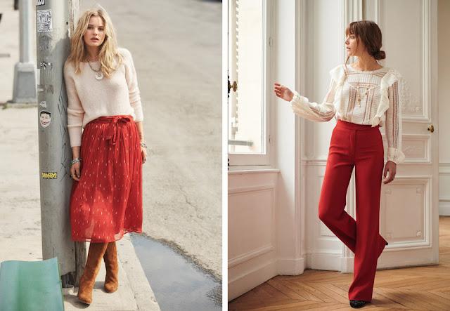 Красная юбка и брюки в романтическом образе