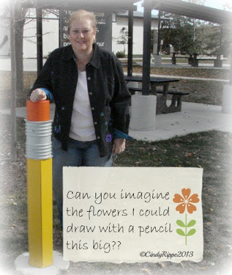 Sculpture of Writing Instruments, I-80 rest stop near Tiffin, Giant pencil, I'd rather draw flowers, the importance of literature and education rest stop in Iowa, Florals-Family-Faith, Cindy Rippe