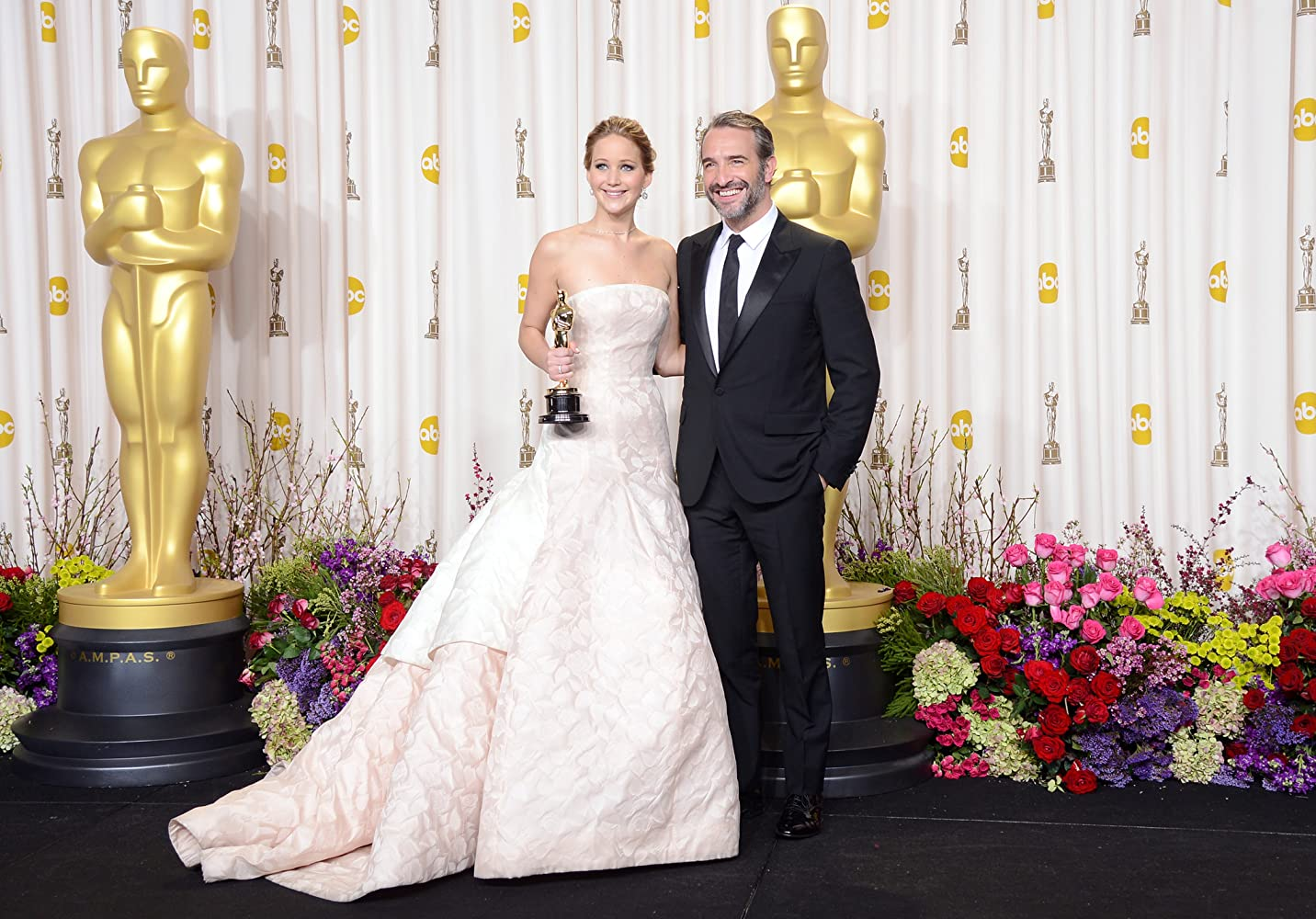 Jean Dujardin and Jennifer Lawrence