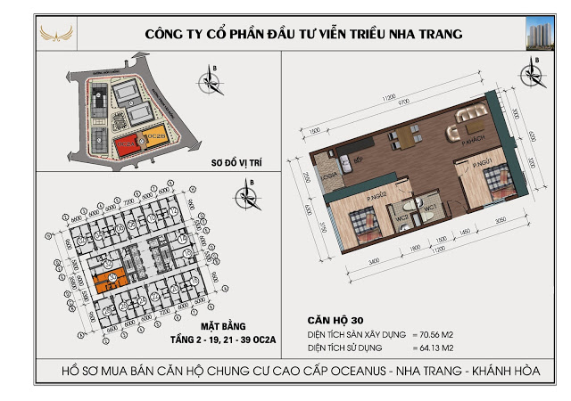 Sơ đồ căn hộ số 30 tòa OC2A Viễn Triều Nha Trang