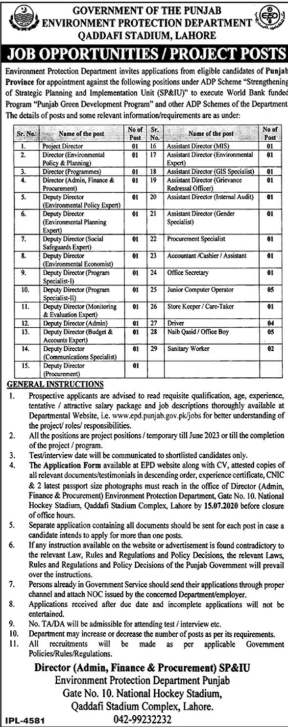 Environment Protection Department Punjab Lahore Jobs 2020