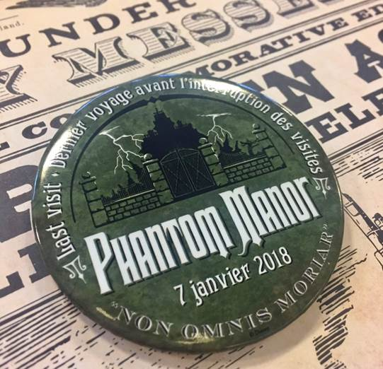 Collectible Phantom Manor badge available on closing day