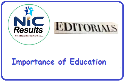 Importance of Education - NIC Results Editorials