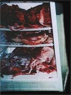 Refrigerador do canibal Issei Sagawa, contendo carne humana.