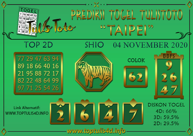 Prediksi Togel TAIPEI TULISTOTO 04 NOVEMBER 2020