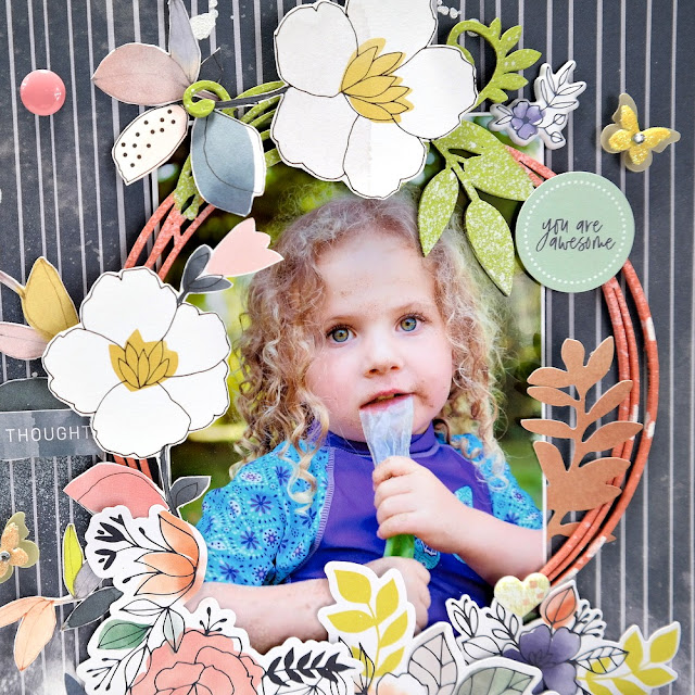 Adore Indigo Hills 2 Scrapbook Layout with Painted Circle Vine Chipboard Frame