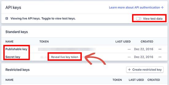 Publishable key feilds in WPForms settings
