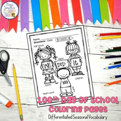 100th Day of School Coloring Pages Dollar Deal with Differentiated Seasonal Vocabulary!  Your Students will ADORE these Coloring Book Pages for the 100th Day! Add it to your plans to compliment any 100th Day Unit! 10 Coloring Pages For Some 100th Day Fun!  Fern Smith's Classroom Ideas