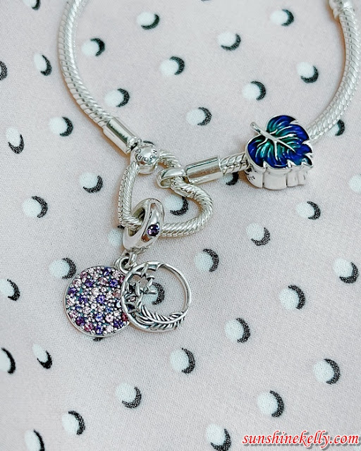 Autumn Pandora Moments Collection, Pandora Malaysia, Pandora, Pandora Moments Heart Closure Snake Chain Bracelet, Pavé Feather Dangle Charm, Fashion
