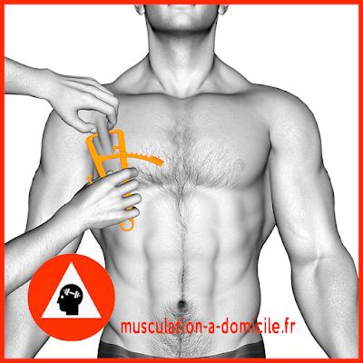mesure poitrine homme pince à plis cutanés adipomètre musculation fitness
