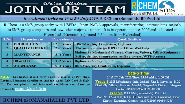 R Chem Pharma (SMS Group) | Walk-in for Multiple positions on 1&2 July 2020 at Hyderabad & Bidar