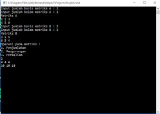 Operasi Matriks dalam Pemrograman Pascal