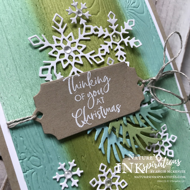 By Angie McKenzie for the Third Thursdays Blog Hop; Click READ or VISIT to go to my blog for details! Featuring the Christmas Layers Dies and Beautiful Boughs Dies for creating early Christmas cards along with the Snowman Season, Peaceful Boughs and Itty Bitty Christmas Greetings stamp sets; #diecutting #naturesinkspirations #christmascards #nature #beautifulboughsdies #christmaslayersdies #linenthread #whitebakerstwine #elegantfacetedgems #spongefliptechnique #pinewoodplanks3dembossingfolder #rectanglestitcheddies #nature #snowflakes #christmasinjuly #makingotherssmileonecreationatatime