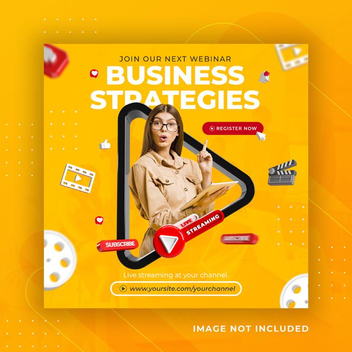 Live Streaming Business Workshop Social Media Post Instagram Template