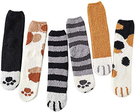 54% OFF  Cute Cat Claw Design Plush Cozy Slipper Sock for Womens Indoor Warm Fuzzy Sleeping Socks