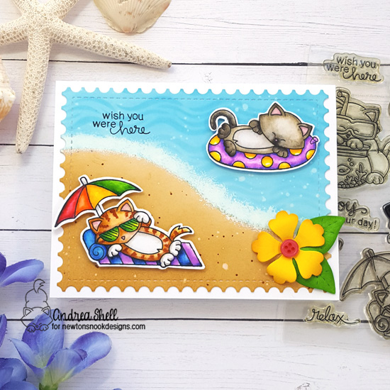 Wish you were here by Andrea features Newton's Summer Vacation, Framework, Waves, Land, and Flower Trio by Newton's Nook Designs; #newtonsnook
