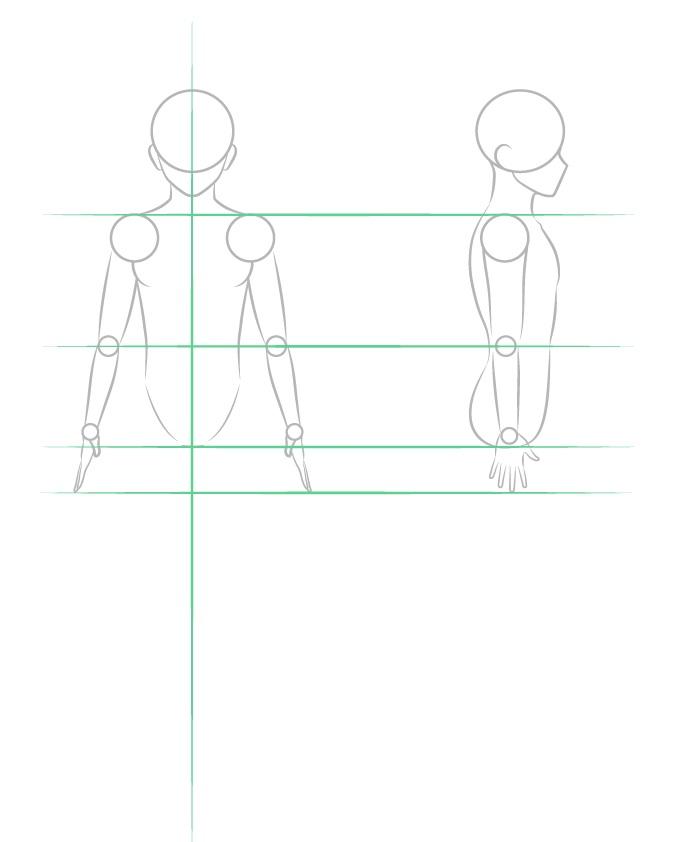 Menggambar struktur lengan pria anime