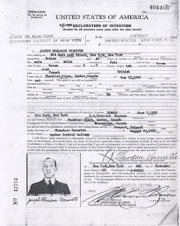 Naturalization Petition for Theodore Vermette. French-Canadian born person naturalized in New York.